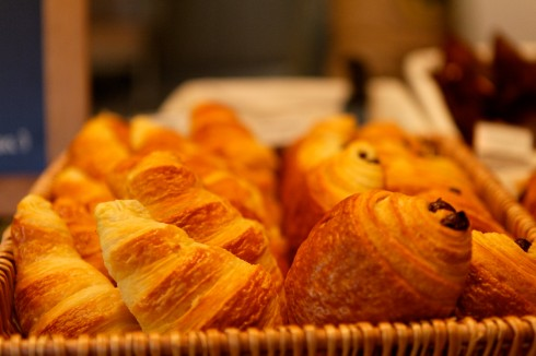warm croissants out of the oven